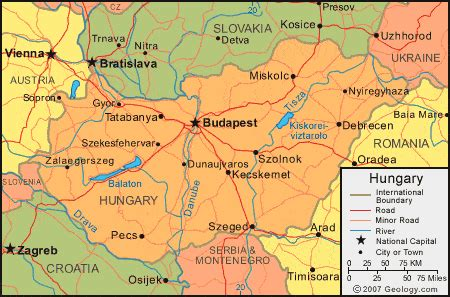 physical map of hungary hungary map and satellite image