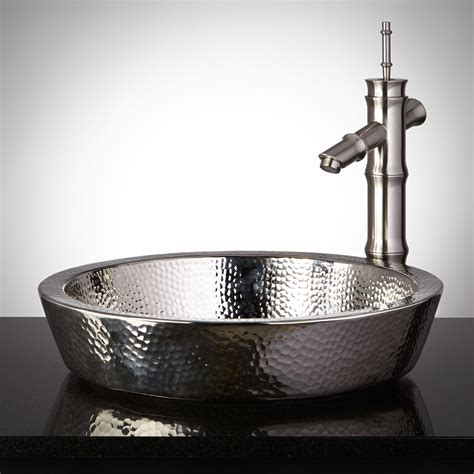 nickel plated copper sink semi recessed copper sink hammered polished nickel