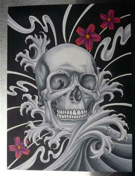 japanese style skull print tattoo art designs drawing