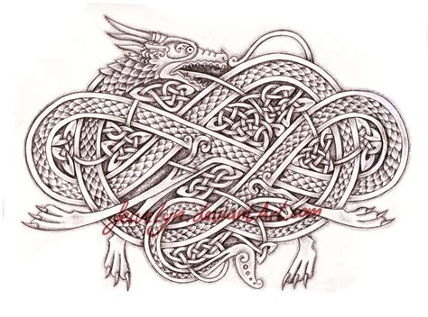 knotwork dragon by feivelyn on deviantart