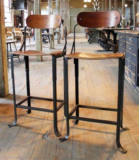 vintage wood and metal bar stools pair of counter bar stools vintage industrial domore metal