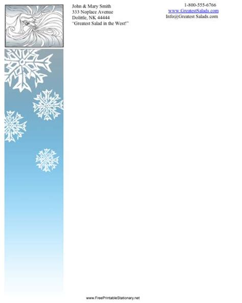printable snowflakes stationery paper winter stationery