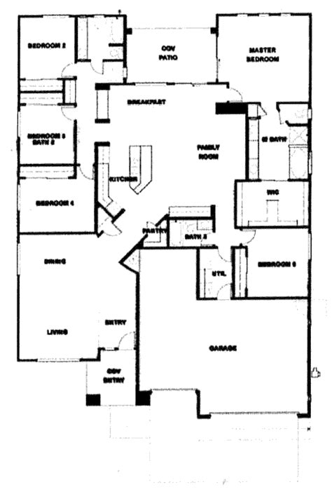 5 Bedroom Floor Plans 1 Story Verde Ranch Floor Plan 2780 Model