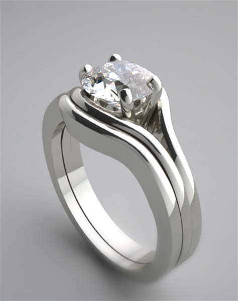 Solitaire engagement ring setting and bridal wedding band ring set