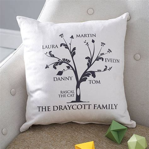 personalised family tree cushion personalised family