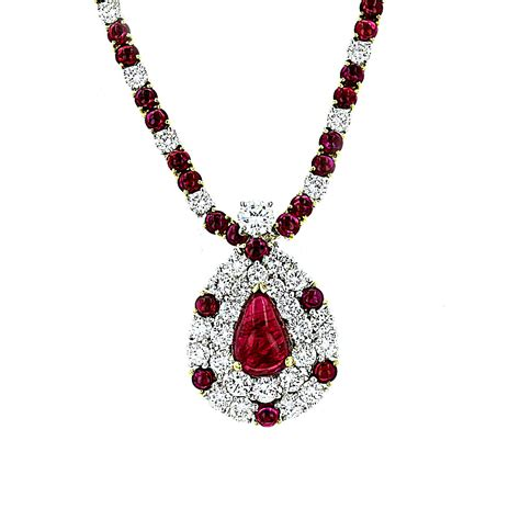 ruby gold necklace vintage estate jewelry 18k white gold and