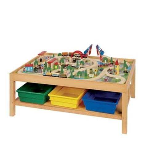 table and trains on