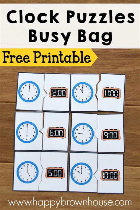 free printable clock games clock puzzles busy bag happy brown house