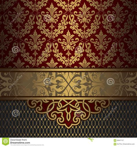 gold vintage pattern vintage background with gold border and patterns stock