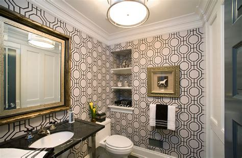 Black White Bathroom Wallpaper by Black And White Wallpaper In 15 Bathrooms And Powder Rooms