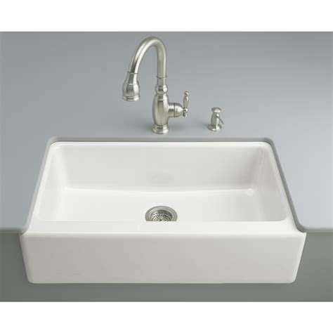 Single Sinks Kitchen Shop Kohler Dickinson 22 12 In X 33 In White Single Basin Cast Iron Apron Front Farmhouse 4