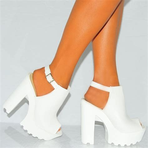 High Heels 2 White Murah white faux leather peep toe chunky block platform high heels