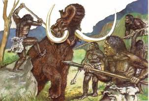 Early humans tools and weapons of a group of early humans