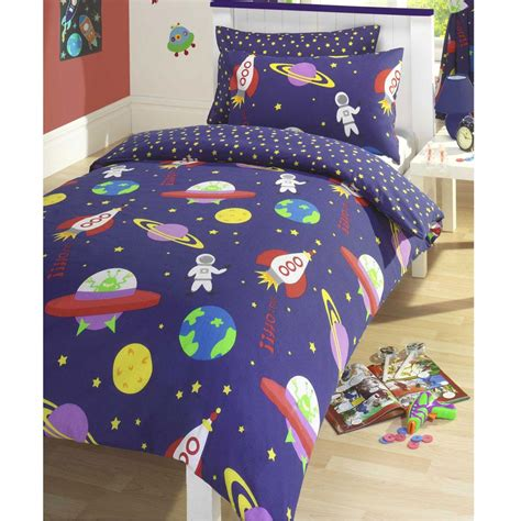 Size Comforter Set Boys Outer Space Theme Bedroom Blue Bedding Ebay Blast Outer Space Duvet Cover Set Bedding New Rocket Ebay