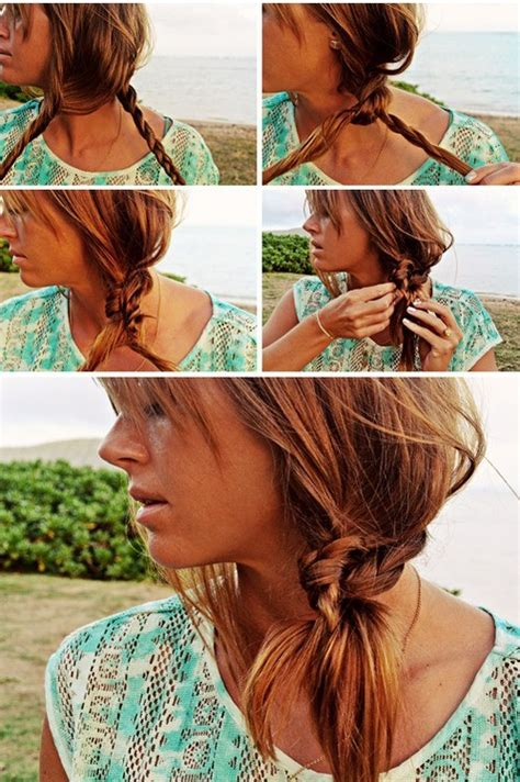 hairstyles for long hair at the beach beach hairstyle ideas knotted braid side ponytail