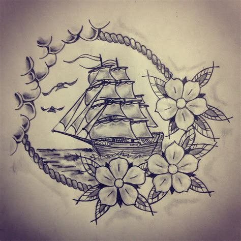 ship and rose tattoo ship roses sketch by ranz