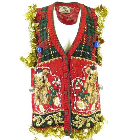 ugly christmas sweater vest light up m gold garland