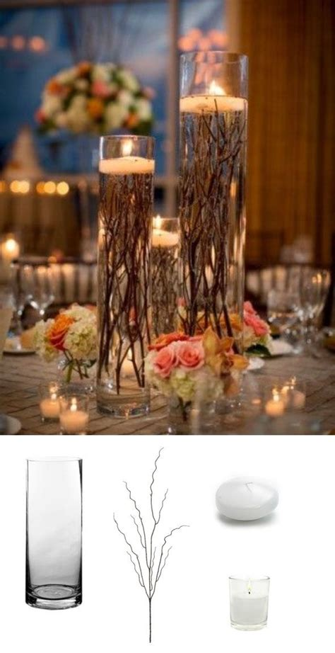 make your own diy wedding centerpieces by submersing branches and top with a floating candle so
