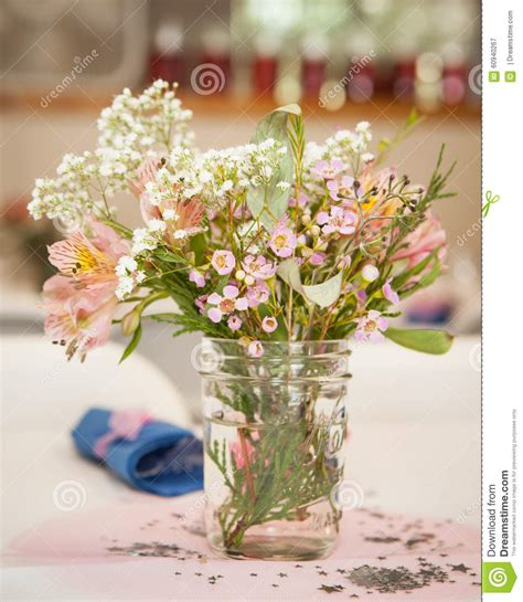 White Jar Table Ls Wildflowers In A Jar Stock Illustration Image