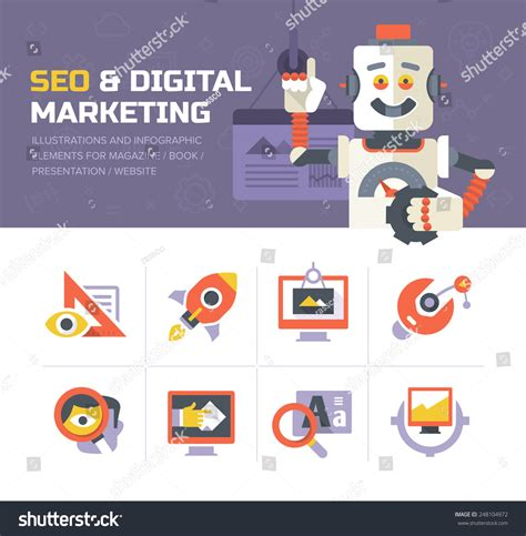 Seo Technology 5 by Modern Flat Icons And Elements Of Digital Marketing Seo