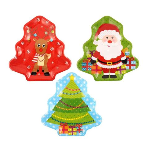 assorted melamine christmas tree trays 32cm set of 3