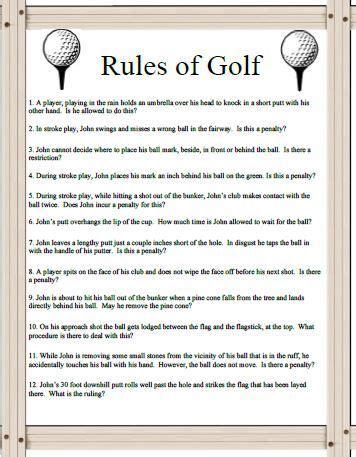 rules  golf  kids  golf trivia questions