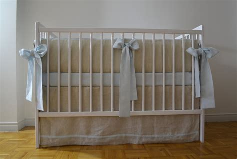 Crib Skirt Boy by Linen Crib Bedding For A Boy Skirt And 4 Side