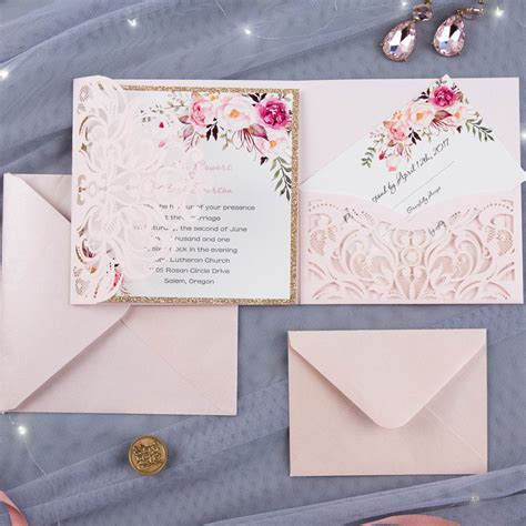 floral wedding invitation diy pink flowers and cactus bohemian floral glittery laser cut wedding invitation