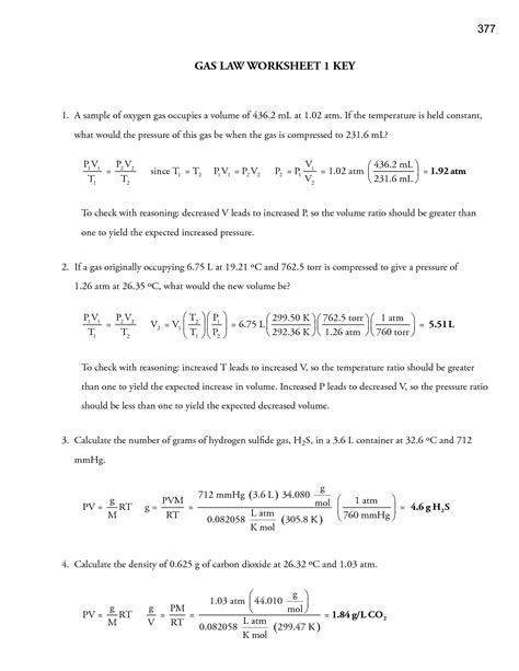Gas Laws Practice Worksheet by 19 Best Images Of Which Worksheet Answers Gas Laws
