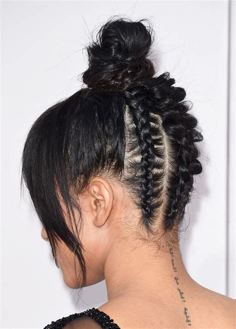 types of updo hairstyles with bangs african amer trending hairstyle bangs top knot bun african back