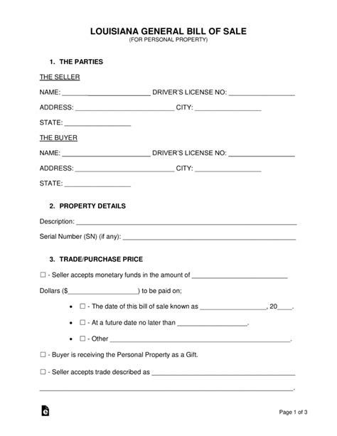 Free Louisiana General Bill Of Sale Form Word Pdf Eforms Free Fillable Forms Bill Of Sale Louisiana Template