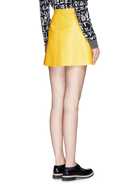 msgm faux leather mini skirt in yellow lyst