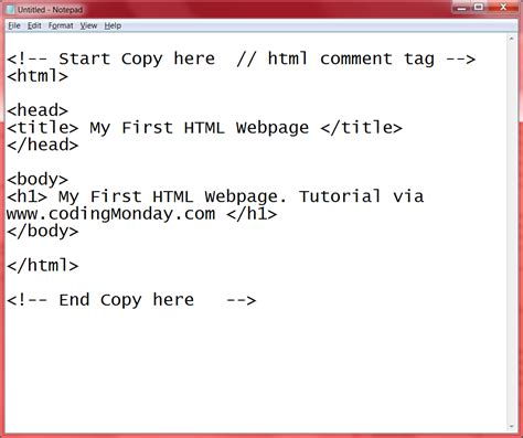 format html in notepad coding monday intro to html with notepad