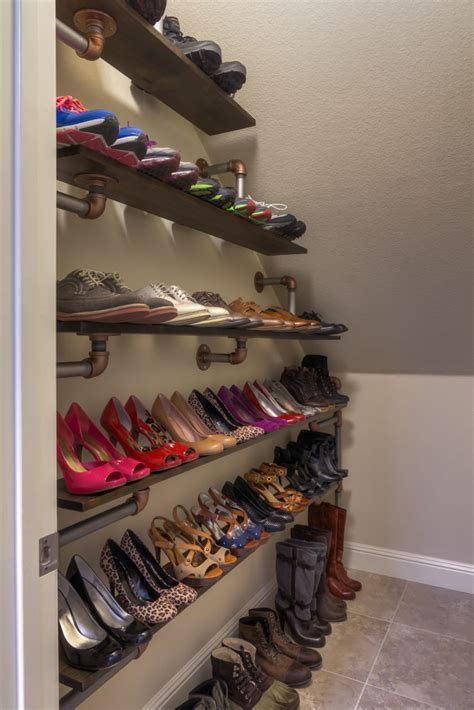 diy shoe shelves iron pipe shoe rack