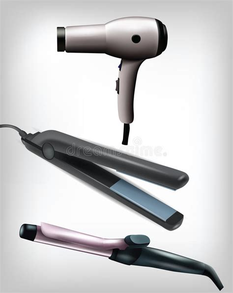 Hair Dryer And Straightener All In One collection of realistic flat iron curling iron and hair dryer stock vector image 39789280