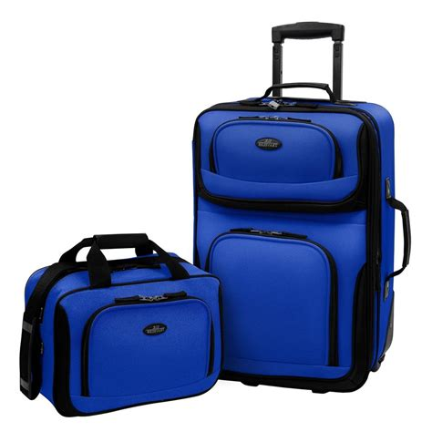 us traveler carry on rio 2 piece blue rolling luggage