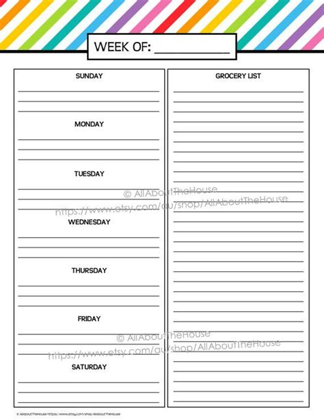 printable meal plan pdf pin by all about planners on all about planners
