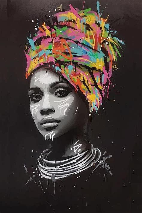 graffiti canvas print african woman