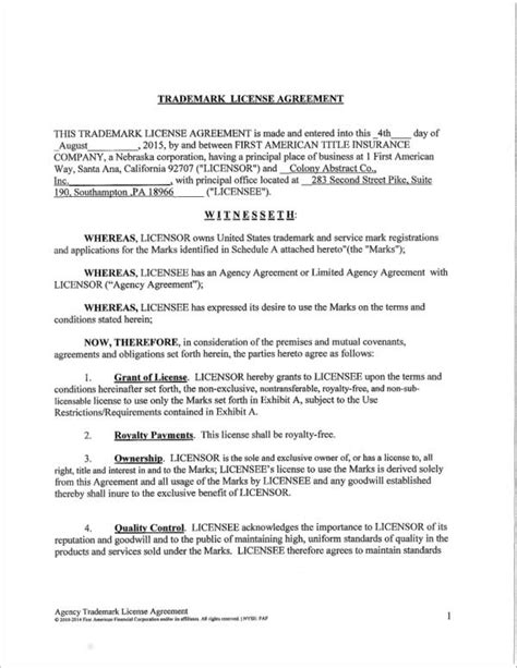 6 Trademark License Agreement Sles Templates Sle Templates Trademark License Agreement Template