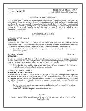 Sle Resume For Cook by Design Resume Resume Format Pdf
