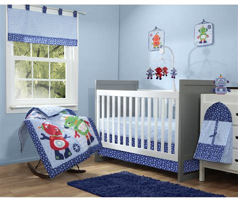 Baby Boom Robot 10 Piece Crib Bedding Set Blue Ebay Robot Crib Bedding