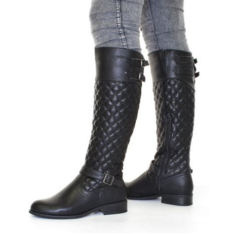 Black Quilted Boots by Womens Biker Boots Black Leather Style Quilted Size 5 10