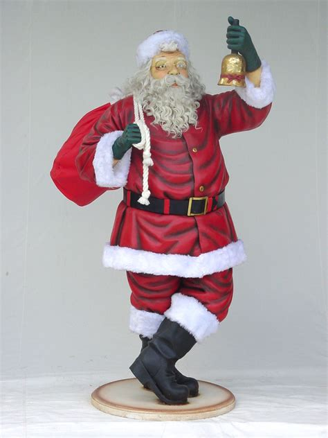 santa claus with bell statue christmas decor life size 6ft