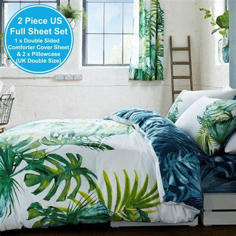 botanical palm leaves duvet cover set reversible double