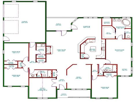 One Floor Open Concept House Plans | one story house plans one story house plans with open