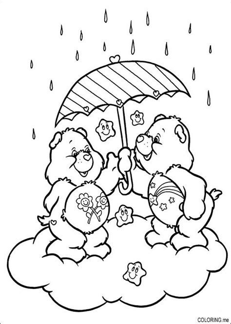 coloring page care bears under the rain coloring me