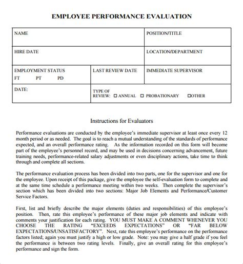 performance evaluation form templates sle performance evaluation 7 documents in pdf word