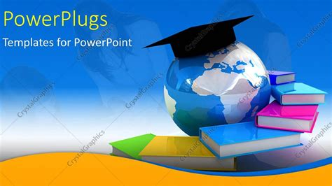 powerpoint template globe books with students in