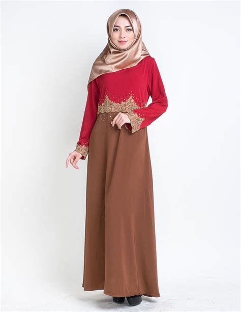 design dress muslimah remaja janine border lace dress features sharp contrasting color