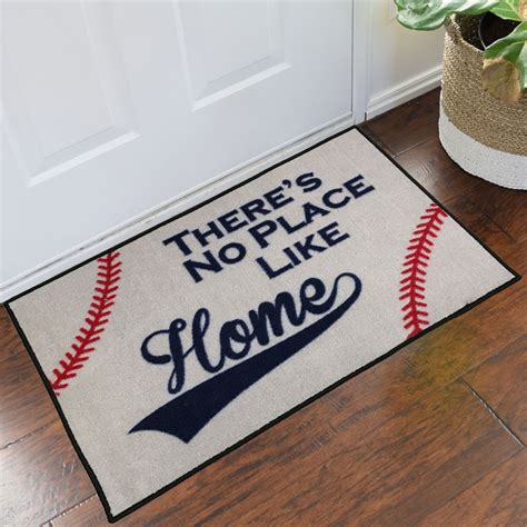 Theres No Place Like 127001 Door Mat For It Geeks by Baseball No Place Like Home Welcome Mat 2 X 3